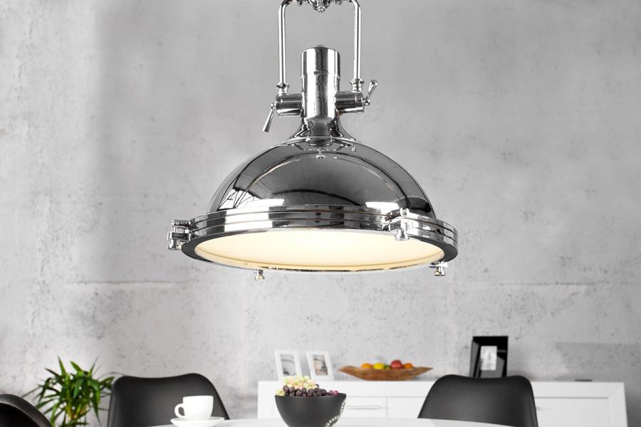 Przemysłowa Lampa wisząca chrom 45 cm 22856