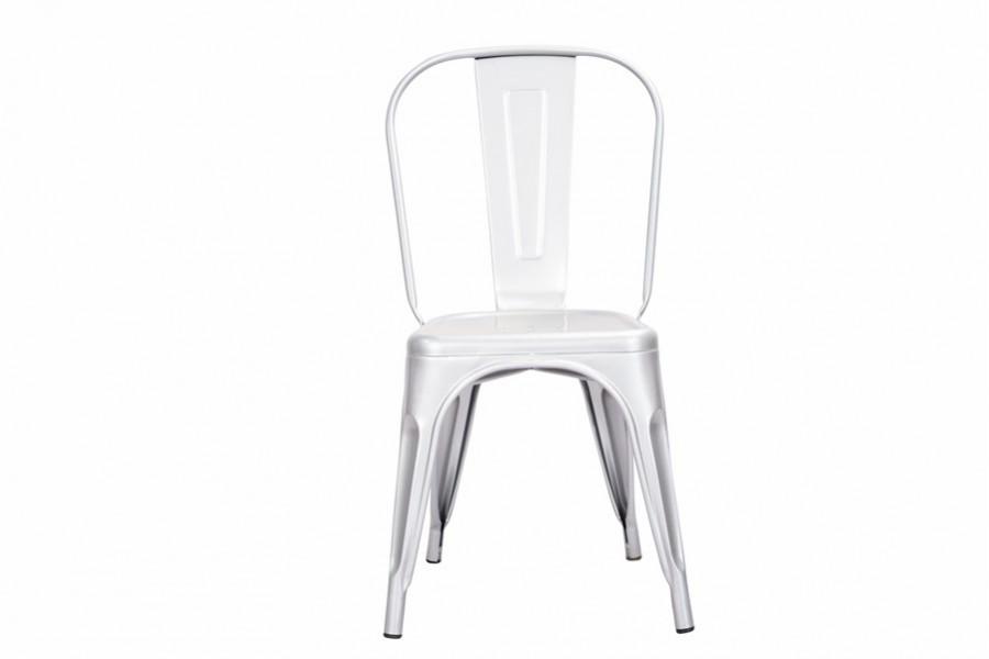 Metalowe krzesło LOFT PARIS srebrne inspirowane Tolix