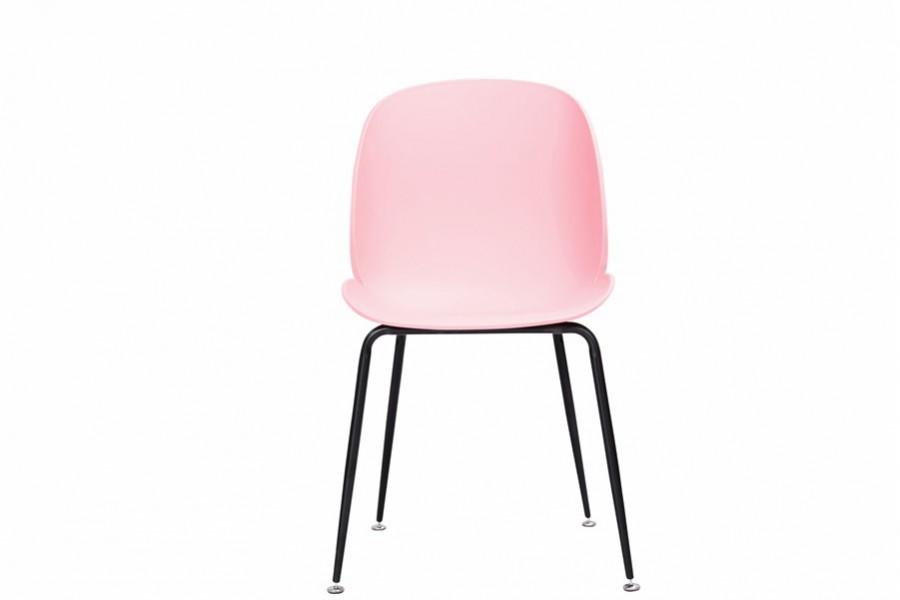 Krzesło 4 sztuki INGO pink metalowe nogi czarne mat - 400zł za komplet 4szt !