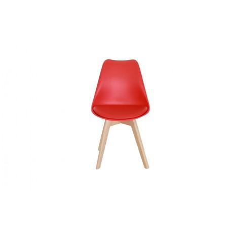 Krzesło 4 sztuki SKANDI czerwone z wygodnym siedziskiem