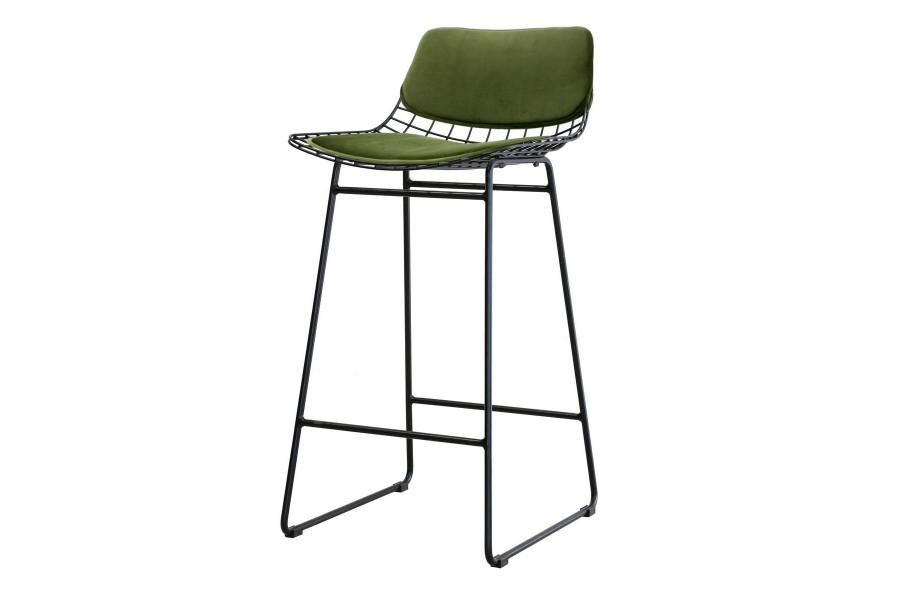 Zestaw COMFORT zielony do metalowego stołka barowego, druciany z poduszkami, zielony n