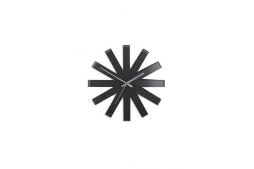 Zegar ścienny, czarny, RIBBON
