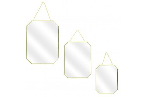 Zestaw 3 lusterek Carre Gold