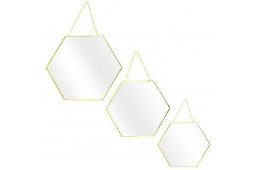Zestaw 3 lusterek Hexa Gold