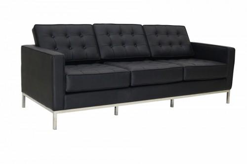 Sofa Modern 3 osobowa skóra czarna inspirowana projektem Florence Knoll